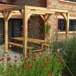 garden design green oak bench